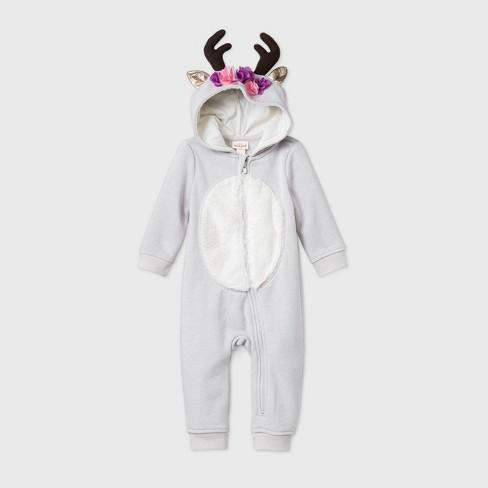 Baby Girls' Reindeer Zip-Up Romper - Cat & Jack™ Pink  - image 1 of 1