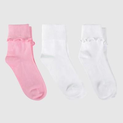 Girls' Bobby Socks 3pk - Cat & Jack™ White/Pink