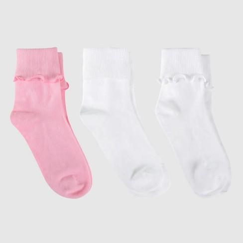 Girls' Bobby Socks 3pk - Cat & Jack™ White/Pink - image 1 of 3