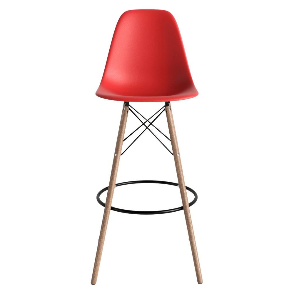 Paris Mid Century Modern Classic Barstool (Set of 2) - Red - Aeon