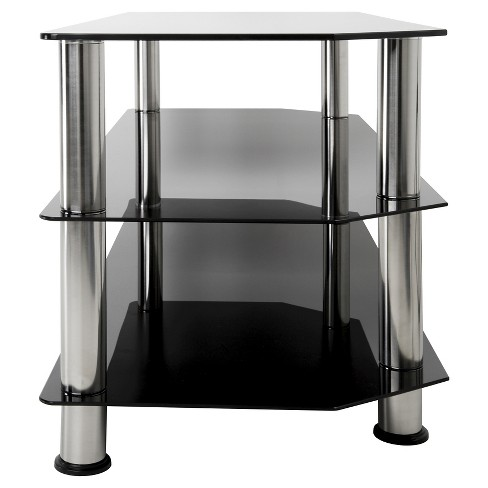 Glass And Chrome Tv Stand Black 45 Avf Target