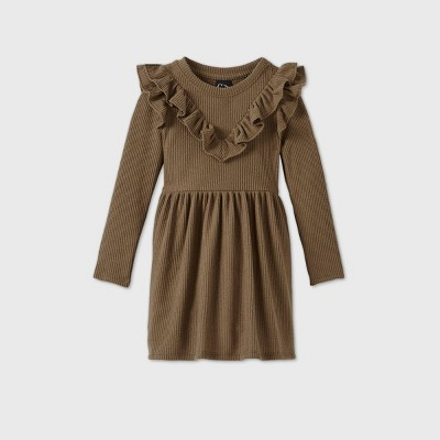 Toddler Girls' Ruffle Ribbed Long Sleeve Dress - art class™ Olive Green 4T