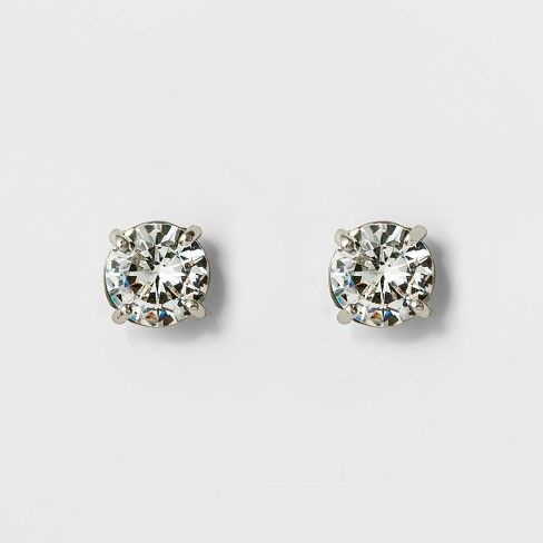 Women S Round Crystal Stud Earring A