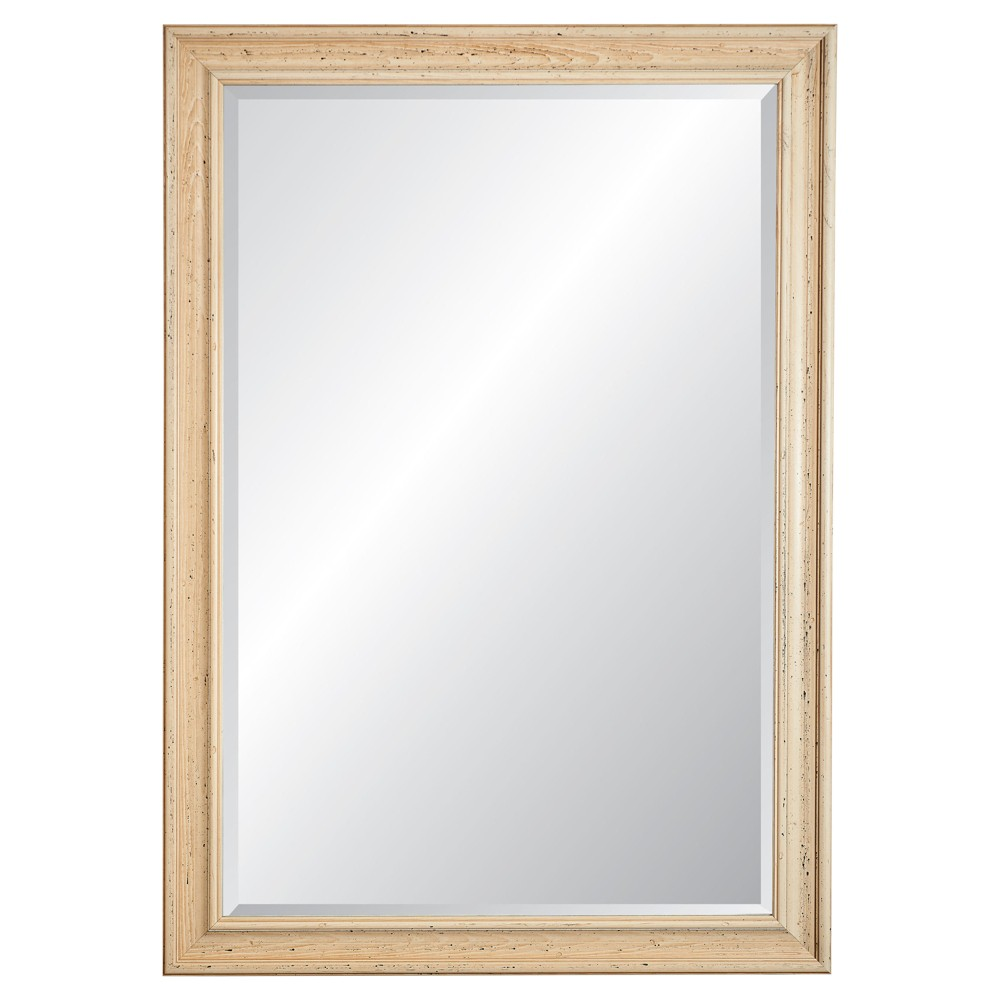 "Image of ""28.5"""" x 40.5"""" Charleston Cream Framed Beveled Glass Wall Mirror - Alpine Art and Mirror, Beige"""