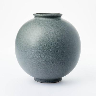 "10"" x 10"" Round Earthenware Vase Gray - Threshold™ designed with Studio McGee"