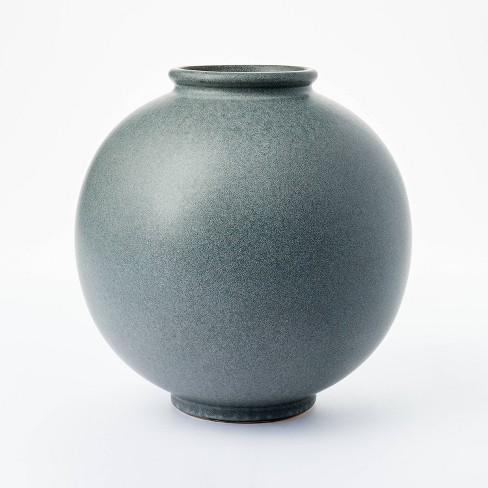 "10"" x 10"" Round Earthenware Vase Gray - Threshold™ designed with Studio McGee - image 1 of 4"