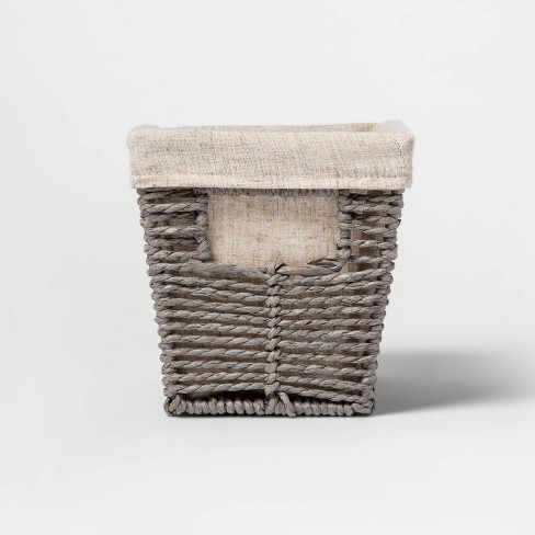 """10.25x6x6"""" Twisted Paper Rope Small Tapered Basket Gray - Threshold™ - image 1 of 3"""