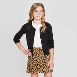 Girls' Long Sleeve Cardigan Sweater - Cat & Jack™ Black