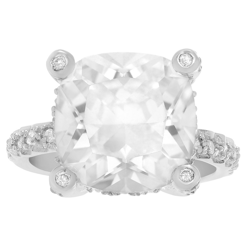 1 1/6 CT. T.W. Cushion-cut CZ Basket Set Engagement Ring in Sterling Silver - Silver, 7, Girl's