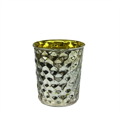 Northlight Set of 4 Yellow and Silver Hammered Mercury Glass Decorative Votive Candle Holders 4""