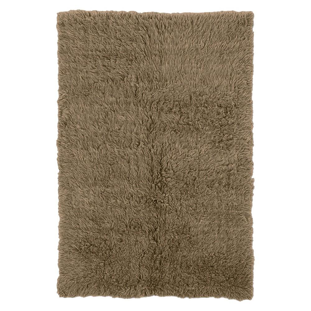 100% New Zealand Wool Flokati Area Rug - Mushroom (8' Round), Green