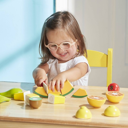 Melissa & Doug Cutting Fruit Set - Wooden Play Food Kitchen Accessory image number null