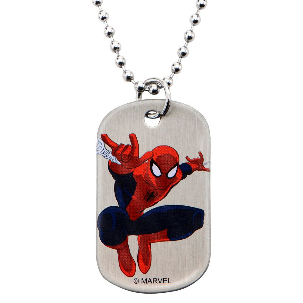 Men's Boys' Marvel Spider-Man Action Shot Stainless Steel Dog Tag with Ball Chain (18)