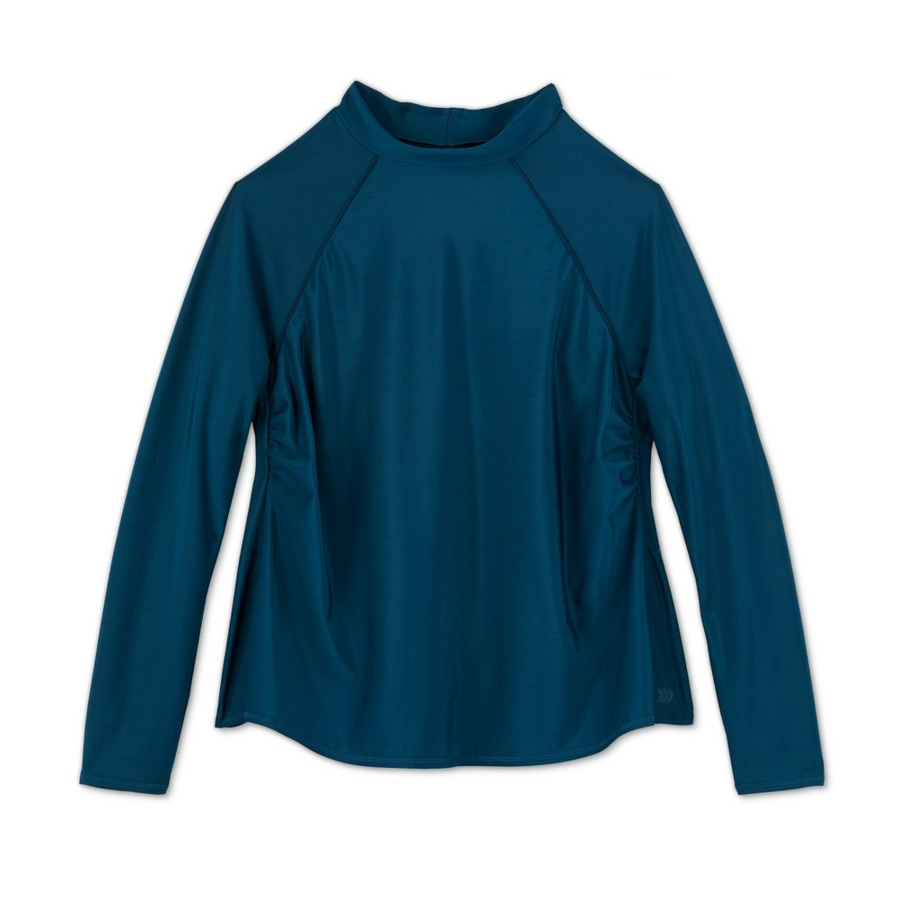 Womens Plus Size Long Sleeve Mock Neck Rash Guard - All in Motion Teal 24W Blue