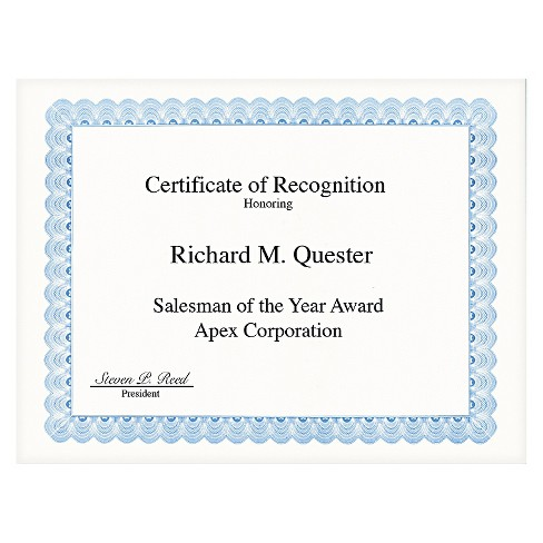 Geographics® Parchment Paper Certificates, 8-1/2 x 11, Blue Conventional Border, 50/Pack - image 1 of 1