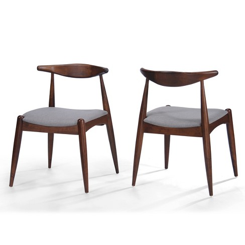 Set Of 2 Francie Mid Century Dining Chairs Beige Walnut Brown