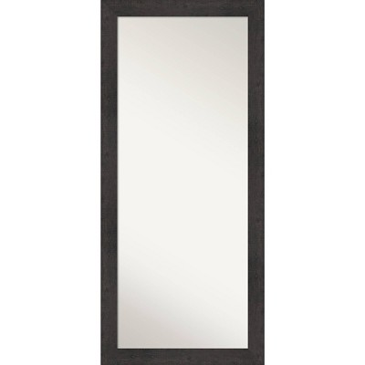 "29"" x 65"" Rustic Plank Espresso Framed Full Length Floor/Leaner Mirror - Amanti Art"