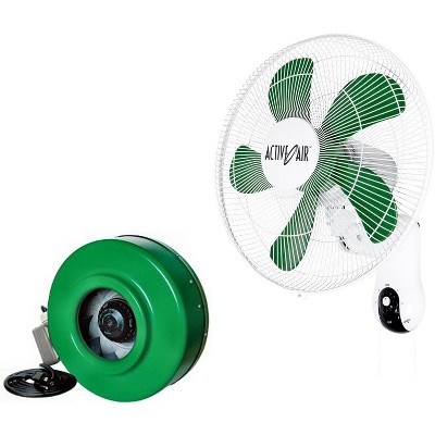 "HYDROFARM ACF16 Active Air 16"" Wall Mountable Grow Fan + 6"" ACDF6 In-Line Fan"
