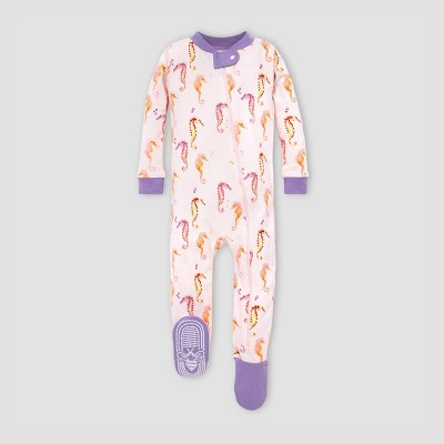 Burt's Bees Baby® Baby Girls' Seahorses Organic Cotton Footed Pajama - Pink 3-6M
