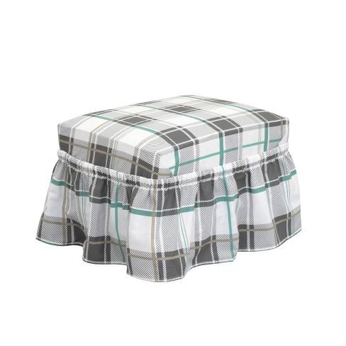 Relaxed Fit Duck Furniture Ruffle Ottoman Slipcover Aqua Blue - Serta - image 1 of 3