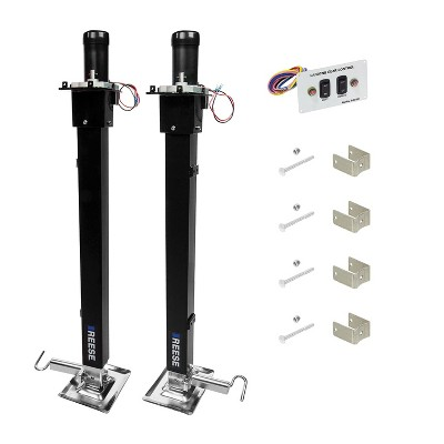 Reese 500708 Pair of Single Output Fifth Wheel RV Landing Gear Jacks with Assembled 12 Volt Motors for Lifting RVs and Campers