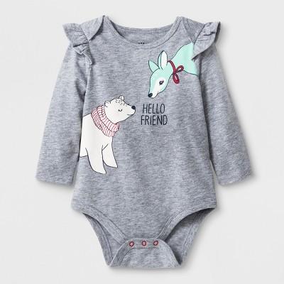 Baby Girls' Long Sleeve Hello Friend Ruffle Shoulder Bodysuit Set - Cat & Jack™ Gray Newborn