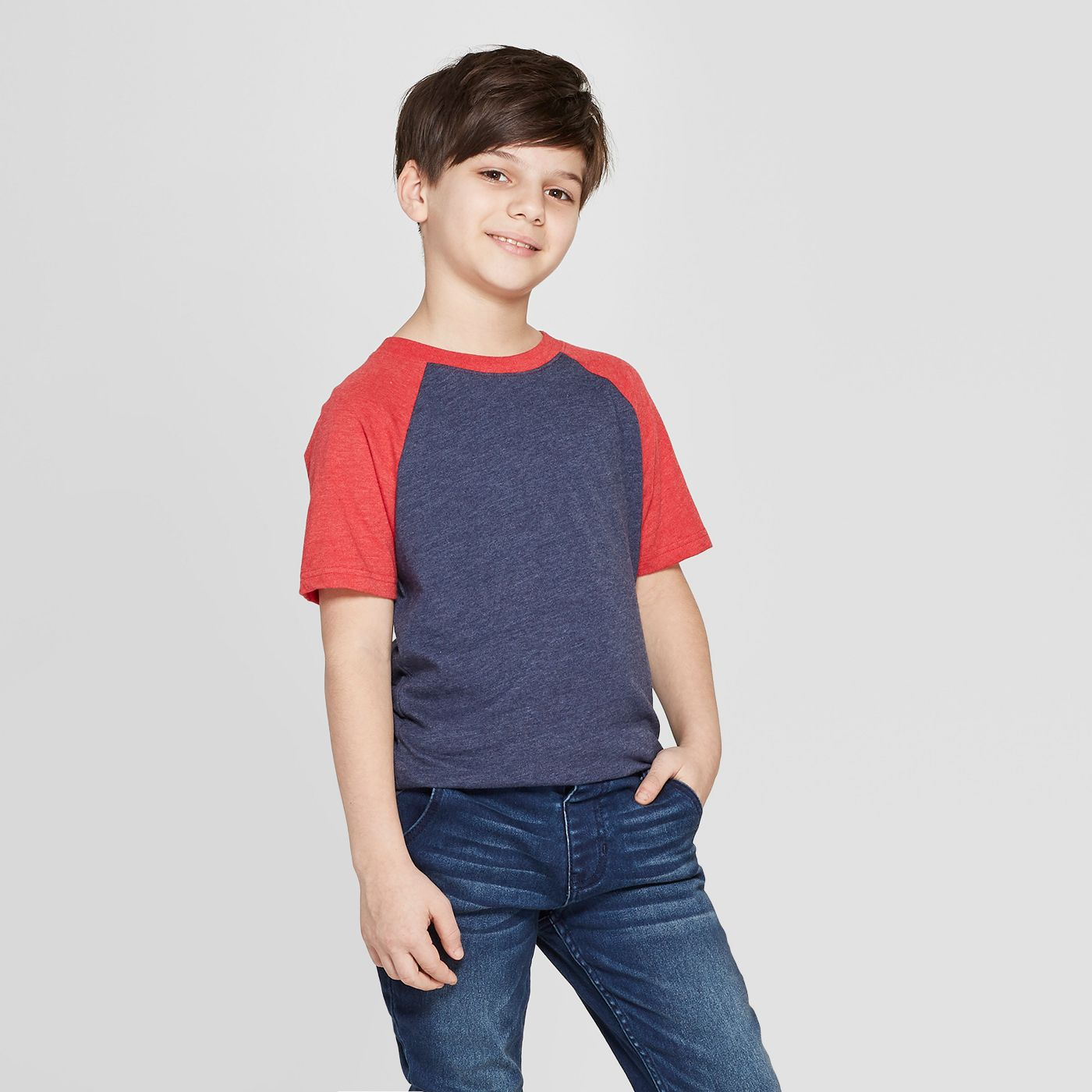Boys' Baseball Short Sleeve T-Shirt - Cat & Jack™ Blue/Red - image 1 of 3
