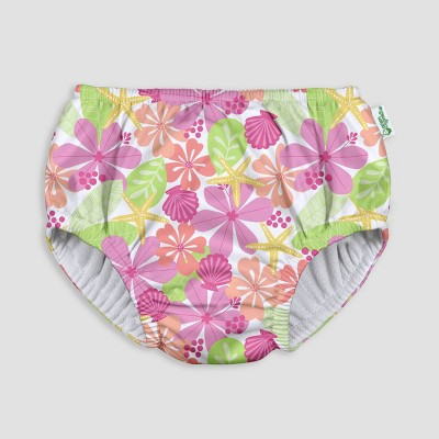 i play by green sprouts Baby Girls' Pull-up Swimsuit Diaper - Floral White 12M