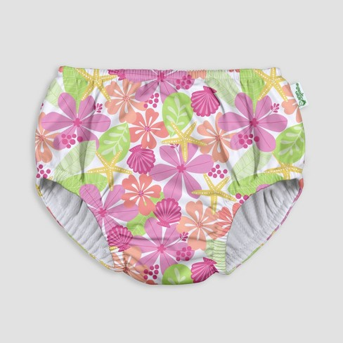 i play by green sprouts Baby Pull-up Swimsuit Diaper - Floral White - image 1 of 4