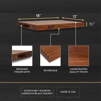 John Boos Walnut Wood Edge Grain Reversible Kitchen Butcher Block Cutting Board, 18 x 12 x 1.5 Inches