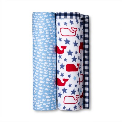 2pk Muslin Swaddle Blanket - School of Whales & Stars and Whales - vineyard vines® for Target