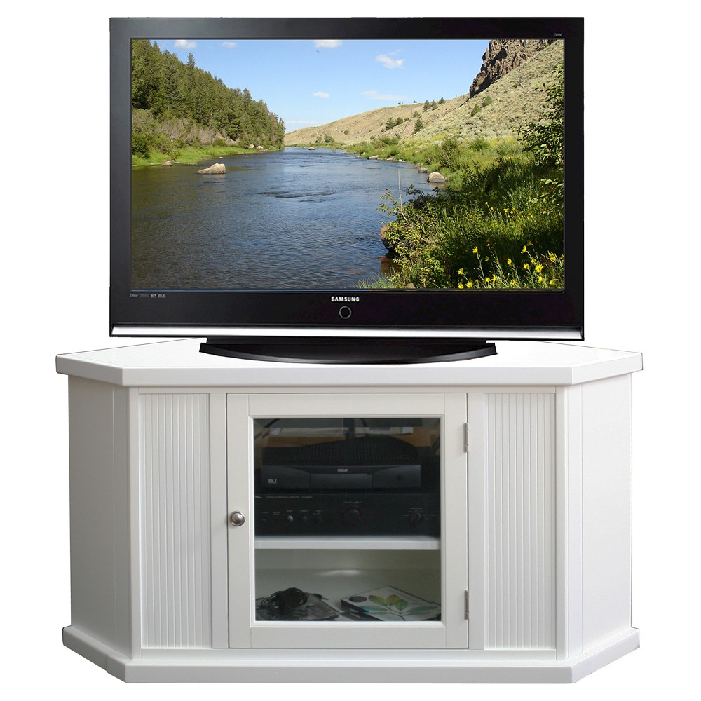 "Image of ""46"""" Corner TV Stand - White - Leick Home"""