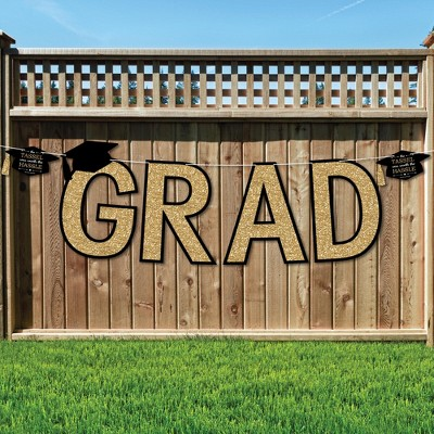 Big Dot of Happiness Tassel Worth The Hassle - Gold - Large Graduation Party Decorations - GRAD - Outdoor Letter Banner
