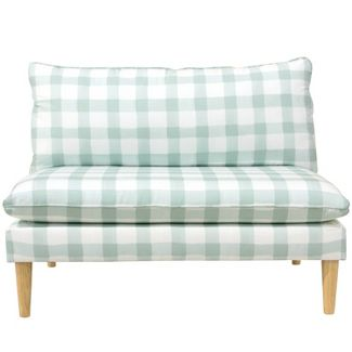 Armless Love Seat with Gray Legs in Buffalo Square Mint Green - Skyline Furniture