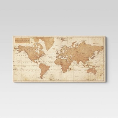 "48"" X 24"" World Map Framed Canvas - Threshold™"