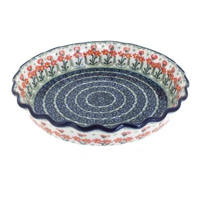 Blue Rose Polish Pottery Peach Posy Pie Plate