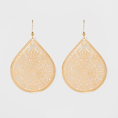 Women's Fashion Earring Filigree - A New Day™ Gold