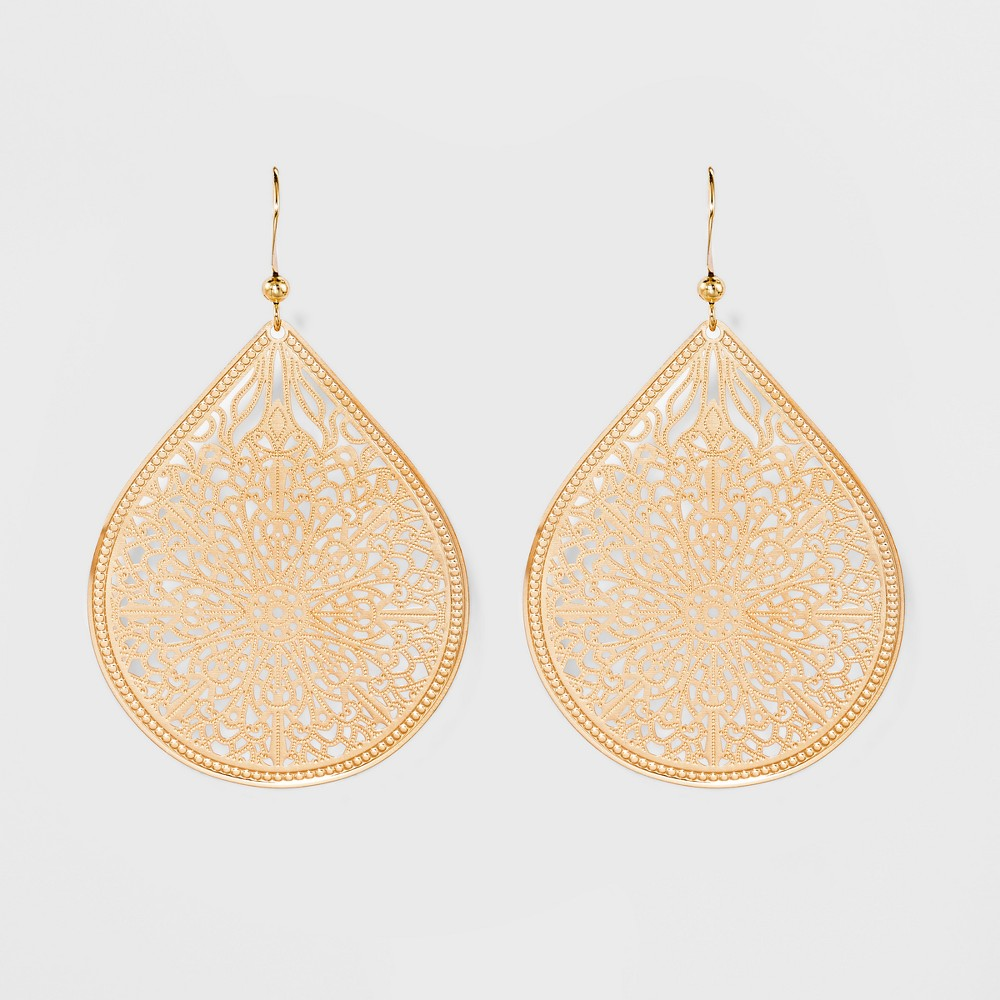 Women's Fashion Earring Filigree - A New Day Gold, Bright Gold Add a bit of shine and intricate detail to your look with the Filigree Earrings from A New Day. Pull your hair back to show off the exquisite twists and turns of the center of these shining filigree teardrop earrings. Make any look gleam a little brighter with the simple addition of these stunning earrings. Color: Bright Gold. Gender: Female. Age Group: Adult.