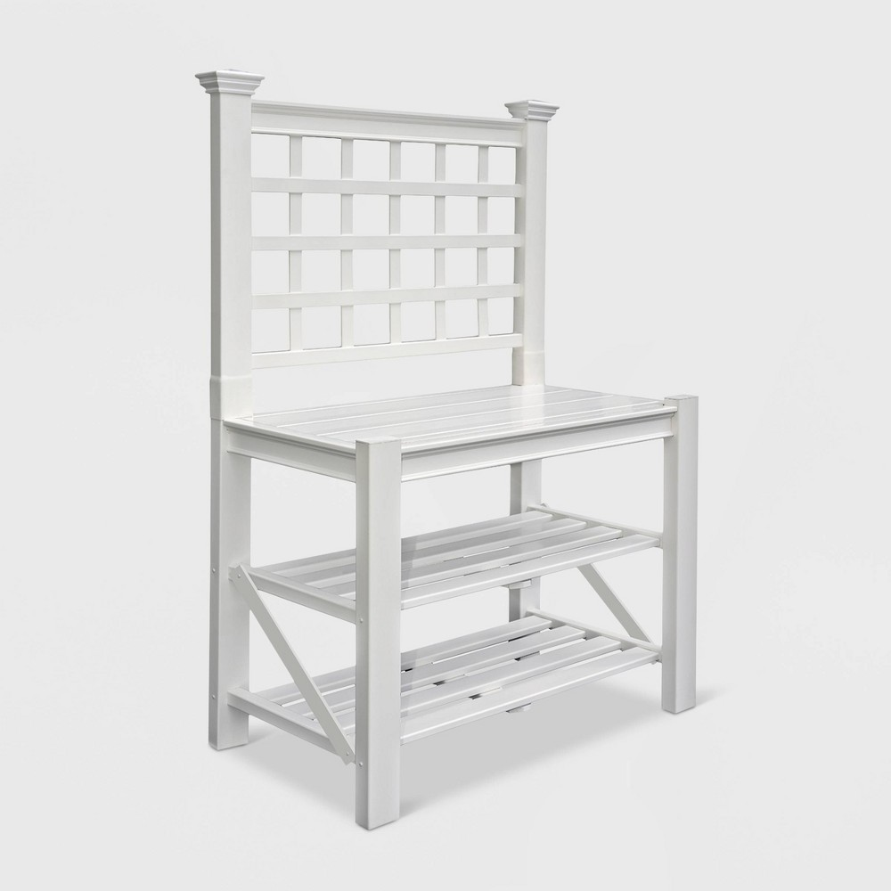 Burbank Potting Bench - White - New England Arbors