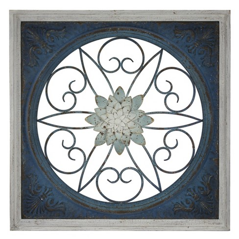 Blue Floral Metal And Wood Wall Decor Blue - E2 Concepts - image 1 of 7