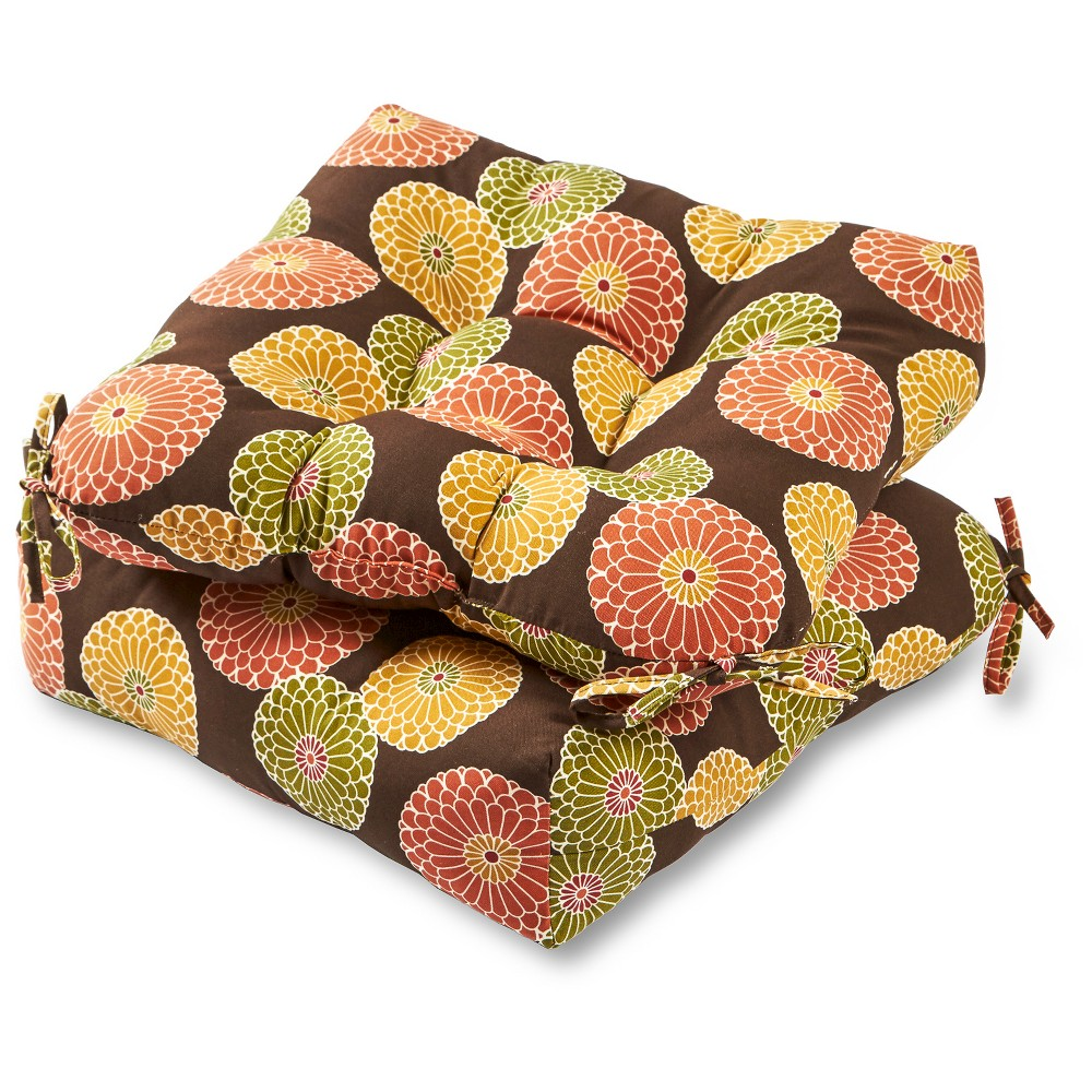 Set of 2 Flowers on Chocolate Outdoor Seat Cushions - Greendale Home Fashions