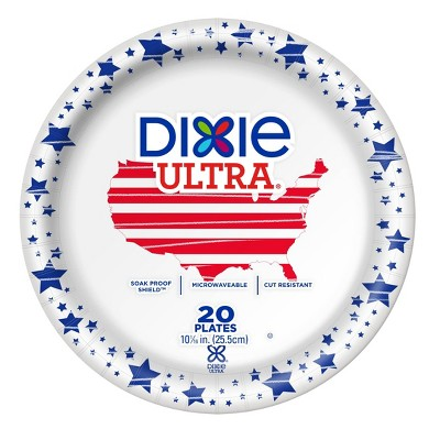 """Dixie Ultra 10 1/16"""" Limited Edition Paper Plates - 20ct"""