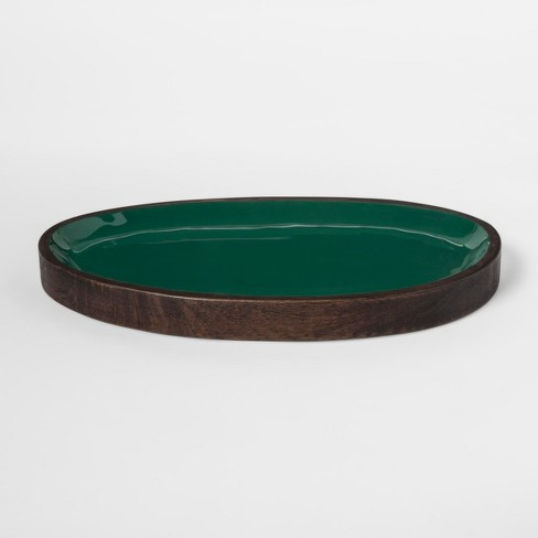 Enamel and Wood Tray - Green - Project 62™ - image 1 of 2
