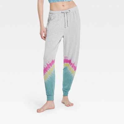 Women's Tie-Dye Butter French Terry Lounge Jogger Pants - Colsie™ Gray