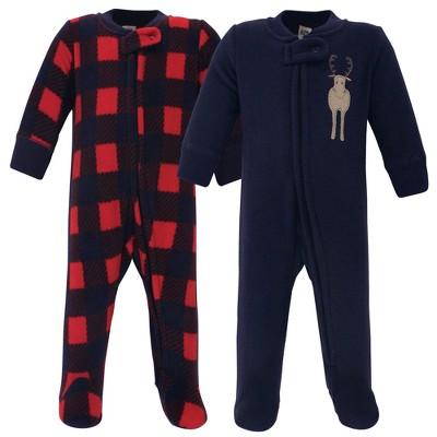 Hudson Baby Infant Boy Fleece Zipper Sleep and Play 2pk, Forest Moose