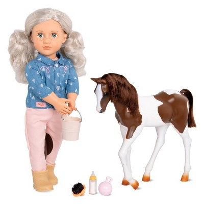"""Our Generation 18"""" Equestrian Doll & Horse Set - Yanira with Foal"""