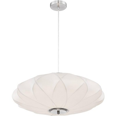 "Possini Euro Design Brushed Nickel Pendant Chandelier 22 1/2"" Wide Modern White Saucer Shade 3-Light Fixture Dining Room House"