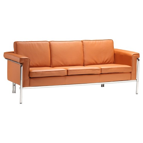 "Modern Faux Leather and Chrome Steel 76"" Sofa - Terracotta - ZM Home - image 1 of 4"