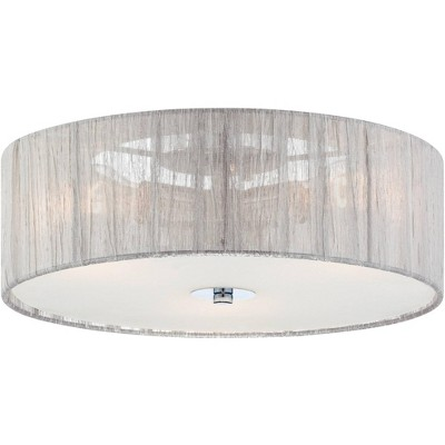 "Possini Euro Design Modern Ceiling Light Flush Mount Fixture Chrome 16"" Wide Silver Fabric Drum Shade for Bedroom Kitchen Hallway"