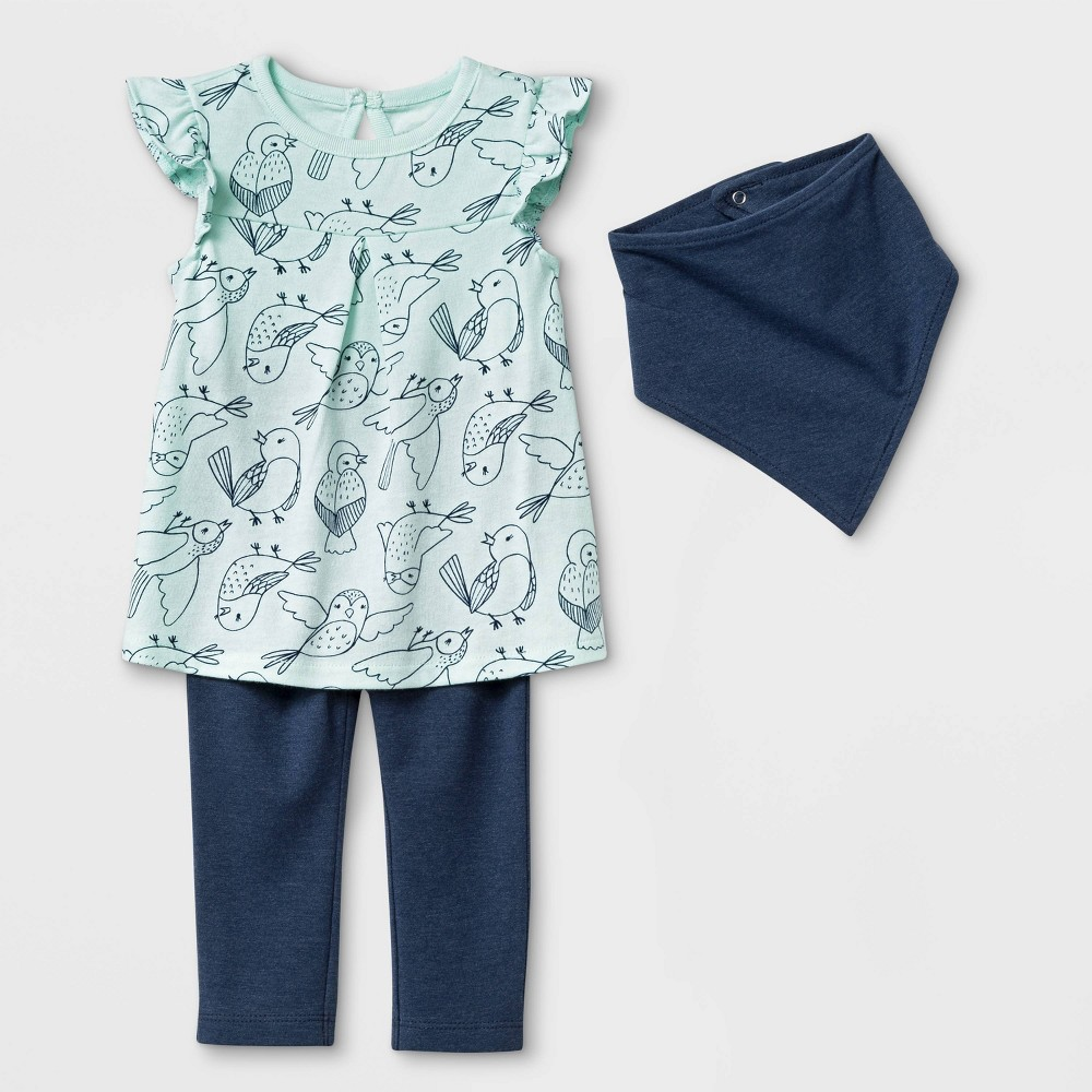 Baby Girls' Bib, Tunic and Leggings Set - Cat & Jack Navy Blue/Green 3-6M